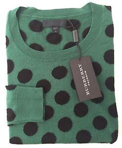 Nwt 995 Burberry Prorsum Runway Mens Green Polka Dot Wool Sweater