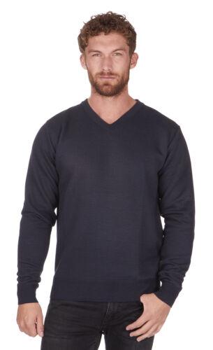 Mens Pierre Roche Knitted V-neck Jumper Burgundy Grey Black Navy