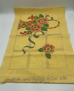 Vogue-NY-ART-DECO-Hand-Painted-PILLOW-Pattern-Yellow-LINEN-for-Embroidery