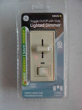 GE Dimmer Toggle on off Slide Lighted 3 Way Single Light Switch