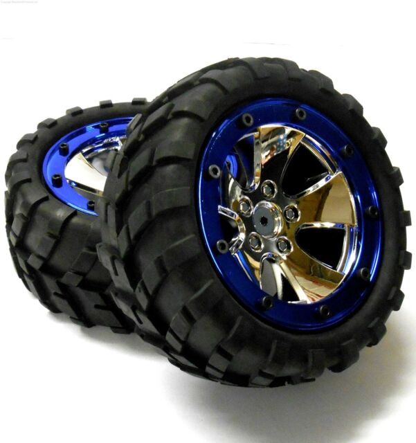 BS702-020 1/10 Scale RC Monster Truck Off Road Wheels and Tyres Chrome Plastic 2