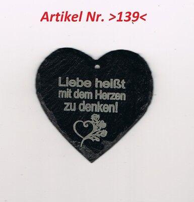 """1 Natur Schiefer Herz 9x9 cm mit /""""Liebes Spruch Geschenk Graviert Lackiert />139/<"""