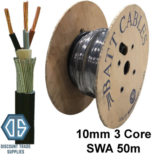 10mm 3 Core SWA Steel Wire Armoured Cable 50m BASEC Approved XLPE On DRUM