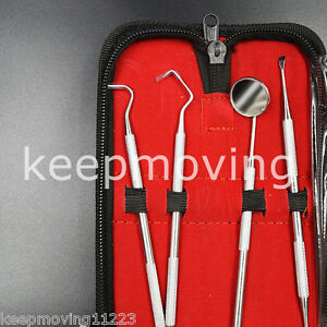Professionale pulizia dei denti igiene dentale KIT 4 Strumenti Set Igiene Picks SPECCHIO