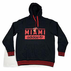 Adidas Mens Miami Heat NBA Basketball Long Sleeve Hoodie Black Red Size XL