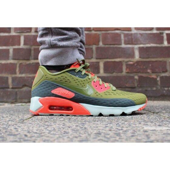 Nike Air Max 90 Ultra Breathe Mens Shoe size 8 725222-300 Green - Bright Crimson