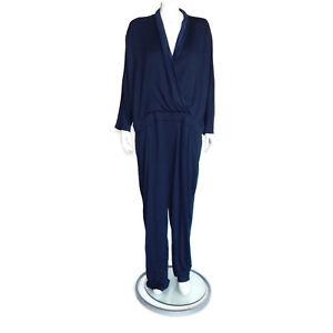 GAP-NWT-Navy-Blue-Faux-Wrap-Front-Long-Sleeve-Jumpsuit-size-XXL-0133