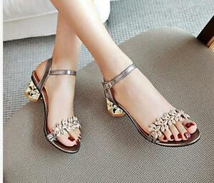 b63ffd7eefb Womens rhinestone block heel open toe Summer ladies dress sandals ...