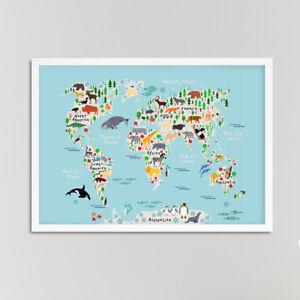 Animaux-carte-du-monde-Nursery-Impression-Photo-Pour-Garcons-Filles-Chambre-Bleu