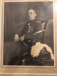 Original Framed WW1 / WW2 Officer's Portrait By Roshy 1920