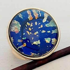 WOW-Large-Statement-Vintage-1950s-CZECH-BLUE-Glass-Fire-Opal-Gold-Ring-Size-P1-2
