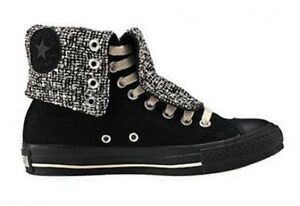 500477df7481 Converse Chuck Taylor all star x hi black Suede tweed fold down 5.5 ...