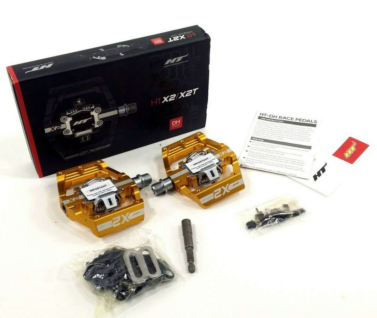HT Components Pedals X2 Clipless Mountain Bike Platform Pedals, gold