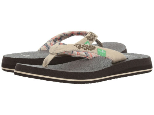 Women Sanuk Yoga Paradise 2 Flip Flop Sandal 1091869 Natural Palms 100/% Original