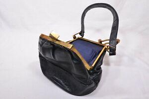 Vintage-Black-Stingray-Skin-Shagreen-Handbag