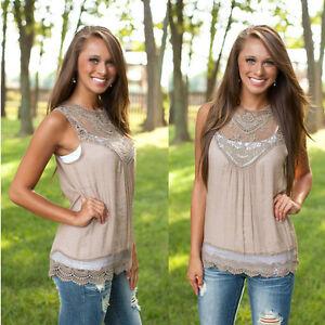 Women-Summer-Vest-Top-Sleeveless-Blouse-Casual-Tank-Tops-Shirt-Lace