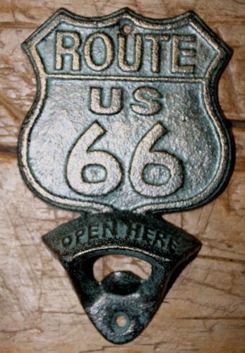20 Cast Iron ROUTE US 66 Plaque OPEN HERE Beer Bottle Opener Western Wall Mount