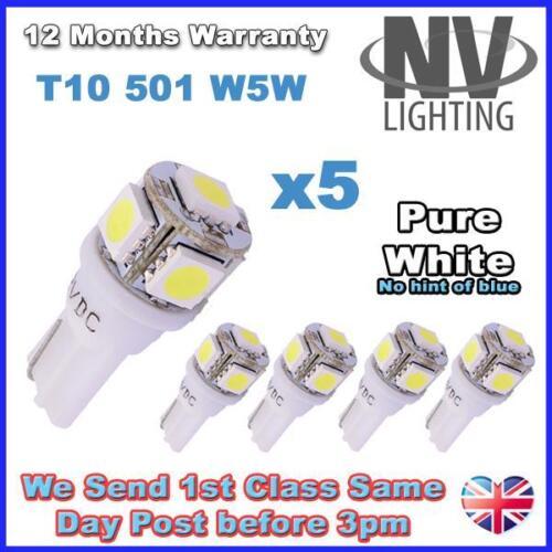 SUPER BRIGHT 5 x 5 PURE WHITE SMD LED 501 T10 W5W Interior Side Light bulbs