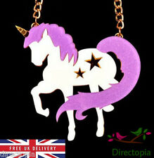 Large Glitter Unicorn Purple Statement Exaggerated Necklace Kawaii Harajuku