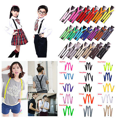 NEW 15 Colors Mens Womens Clip-on Suspenders Elastic Y-Shape Adjustable Braces