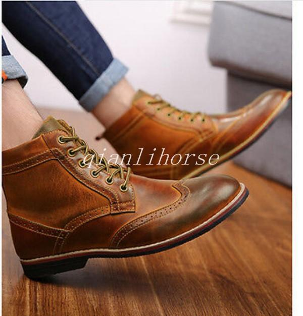 Fashion Men Casual Lace Up Oxford Combat Military Brogue Dress shoes Ankle Boots
