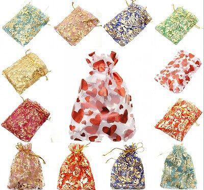 "10Pcs 4""x4.7"" Sheer Organza Wedding Party Favor Gift Candy Bag Pouch Bag"