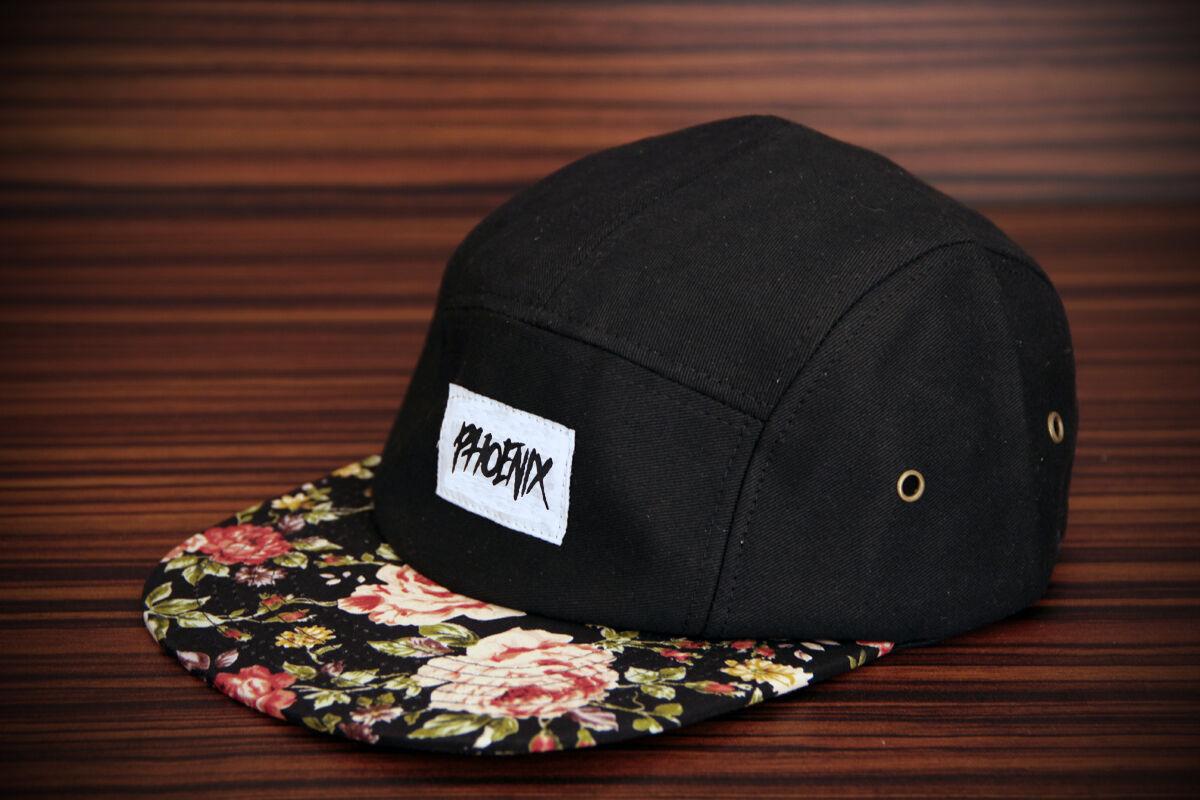 Phoenix Black Beauty 5 Camper Panel Cap Rose Five Camper 5 Hat Snapback Flower Baseball 68b52c