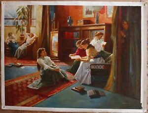 Repro master-Alexander Mark Rossi-a forbidden books oil painting signed 36x48""