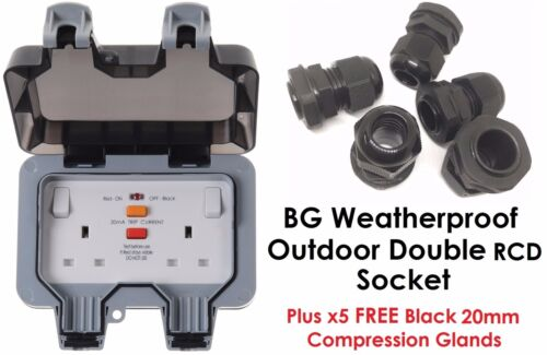FREE 20mm Glands BG Weatherproof RCD IP66 Outdoor 13A Double Socket WP22RCD