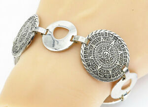 TAXCO-MEXICO-925-Silver-Vintage-Aztec-Sun-Calendar-Chain-Bracelet-B5783