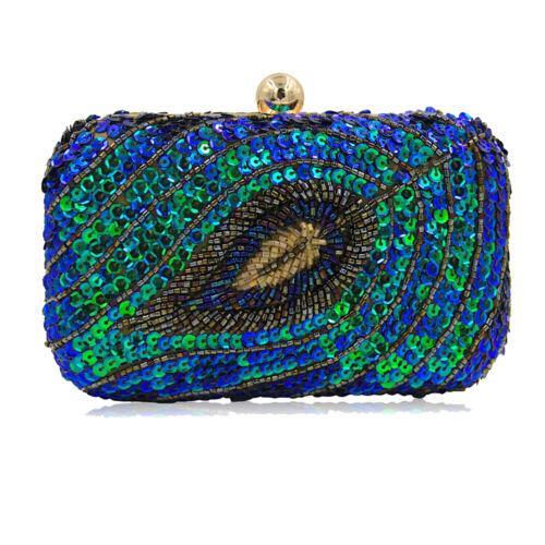 Evening Handbag Green Sequin Peacock Style Party Wedding Clutch Shoulder Handbag