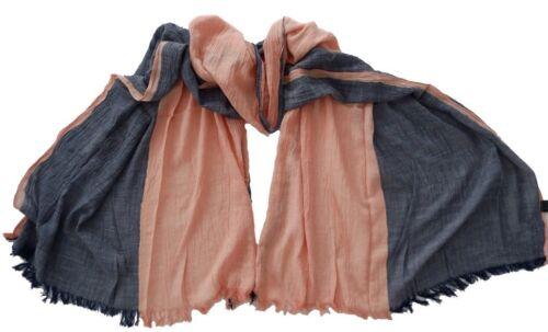 Damen XXL Schal Tuch Frühling Halstuch schlicht zweifarbig Fransen Zwillingsherz