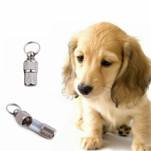 2x Anti-Lost Pet Dog Cat ID Stainless Steel Tag Name Address Barrel Tube E THCO