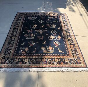 Antique-Anatolian-1920-s-Animal-Pictorial-Blue-Rug-Veg-Dyes-Wool-6-x8-SIGNED