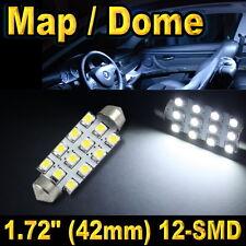 "1x 1.72"" 42mm 12-SMD Festoon Super White LED For Map Dome Lights Bulbs 211-2 578"
