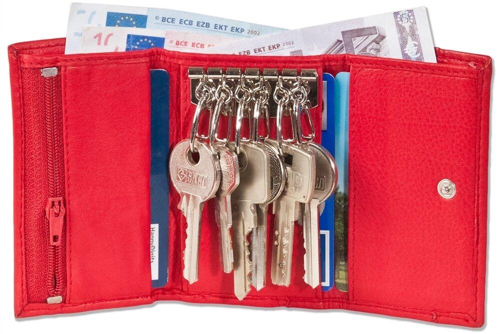 + SCHLÜSSELTASCHE m. 6 Schlüsselhaken u. Geldbörse Rindsleder - Schlüsseletui