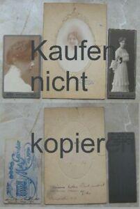Foto-CDV-3-x-Junge-Frau-Liebesbriefe-Widmung-1910-1920-Luxemburg-Dortmund