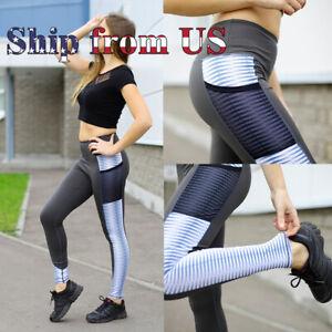 US-Push-Up-Stripe-Fitness-Leggings-Pockets-Sport-Yoga-Gym-Pants-Workout-Trousers
