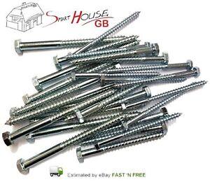 pack of 8 12mm x 280mm hex head galvanised Coach screws