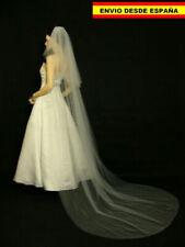 Velo Catedral para boda novia blanco con peine peineta 2 capas veil...