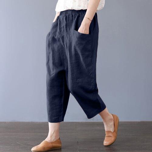 Damen Baggy Hose Haremhose Weites Bein Retro Lose Vintage Plain Stofhose Hosen