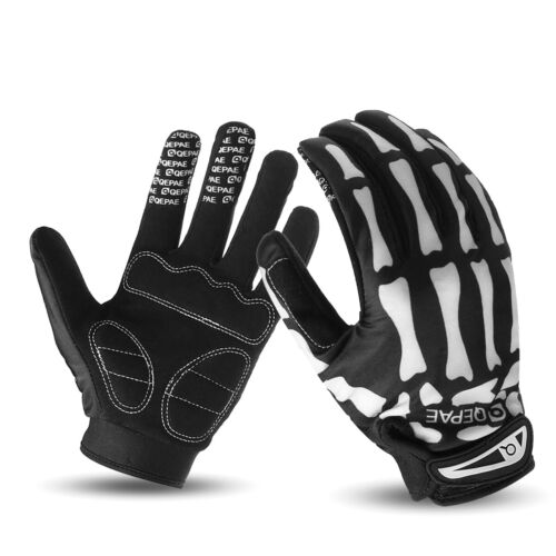 Cycling Motorcycle Racing Skeleton Goth Mechanics Skull Bone Full Finger  New!