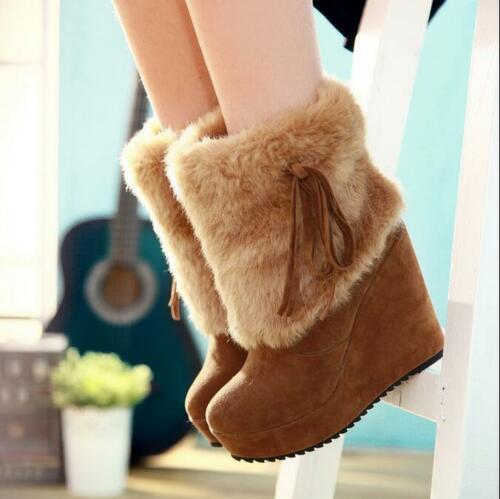 Womens Fahion Faux Suede Furry Wedge High Heels Pull On Ankle Boots Shoes b119