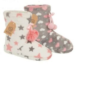 Señoras para mujer niñas Corazón Polar Caliente De Invierno Botas Botín Zapatillas Zapatos Pompón