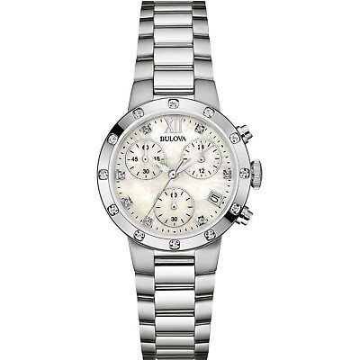 Bulova Women's 96R202 Quartz Diamond Accents Chronograph Silver-Tone 30mm Watch