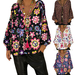 Women-Boho-Floral-Print-Top-Casual-Loose-V-Neck-Blouse-Long-Sleeve-Beach-T-Shirt