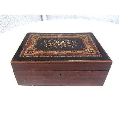 Antike Schöne Nähkästchen Schmuckschatulle Holz mit Bild Handarbeit