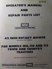 Minneapolis Moline Garden Tractor 42 Mower Imp Owner Amp Parts Manual 110 112 108
