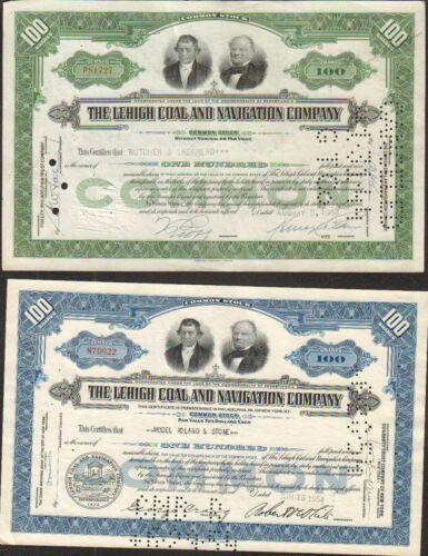 K DECO =/> 2 titres: THE LEHIGH COAL /& NAVIGATION CY USA