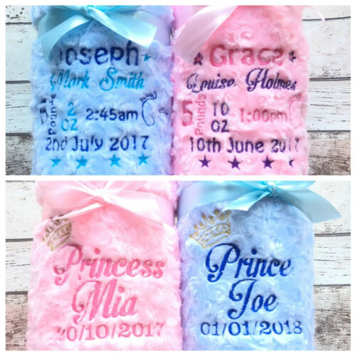 Personalised Luxury Baby Blanket Choose Design Boy Girl Soft Fluffy Embroidered